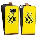 DeinDesign Samsung Galaxy S6 Tasche braun Hülle Flip Case karamell BVB Borussia Dortmund Sterne