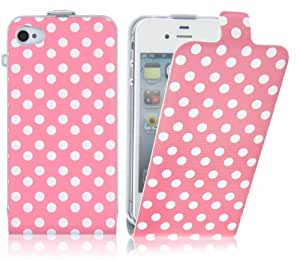Pink Polka Dot Stylish Flip Case Cover Fits iPhone 4 & 4s + Includes Screen Protector