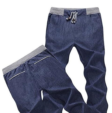 Meijunter Fashion Mens Leisure Linen Trousers Pantalon en lin Cool Loose Pants Breathable Soft Slim Slacks Pantalon Color Navy Asian Size XXL