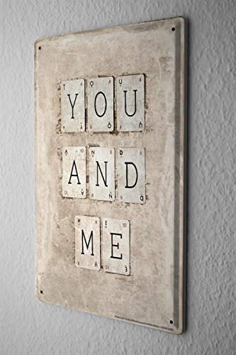 Blechschild Sprüche YOU AND ME Buchstaben Karten Metall Wand Deko Schild 20X30 cm