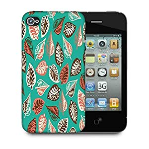 Snoogg Multicolor Leaves Green Pattern Designer Protective Phone Back Case Cover For Apple Iphone 4