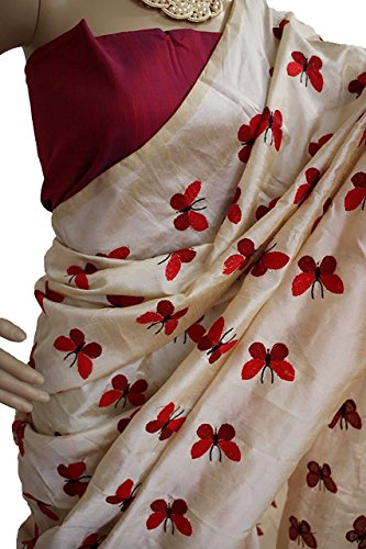 Shadow Export Women's Cotton Silk Saree (Butterfly_Red)