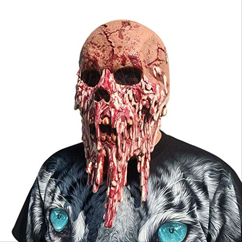 Zombie Kostüm Beängstigend Nicht - NIJY Blutige Zombie Maske Schmelzen Gesicht Erwachsene Latex Kostüm Walking Dead Halloween beängstigend 1A7 Drop Shipping Porzellan rot