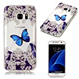 Search : KSHOP Samsung Galaxy S7 Case Slim 360 degree Protective bumper Shockproof Front and Back Full Body TPU Silicone Gel Cover Shock-resistance--Blue butterfly garden Cherry blossoms