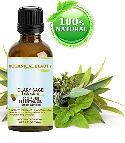 Salvia Sclarea Aceite Esencial Premium calidad 100% puro, vapor de agua destilada, 1fl. oz-30ml...