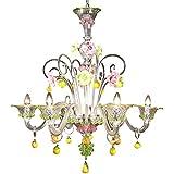 Lámpara Murano Zara–6luces–Cristal Diseño Rosa y Verde | Zara Model–6Lights–Crystal, Pink and Green Decoration