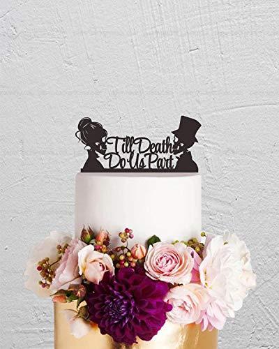 Tortenaufsatz, Totenkopf-Motiv, für Hochzeitstorte, Tortenaufsatz, Skelett, Halloween-Dekoration (Skelett Silhouette Halloween)