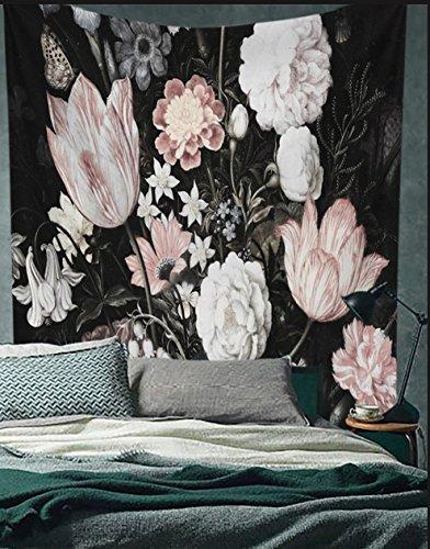 flber Schwarz Blüten schönen Blumen Wand aufhängen Floral Tapisserieware Tapete Home Decor, 152,4x 205,7cm Twin Größe -
