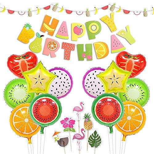 LUCK COLLECTION Tutti Frutti Party Dekorationen Frucht Happy Birthday Banner Obst Ballons Cupcake Toppers für Geburtstag Luau Obst unter dem Motto Party Dekorationen