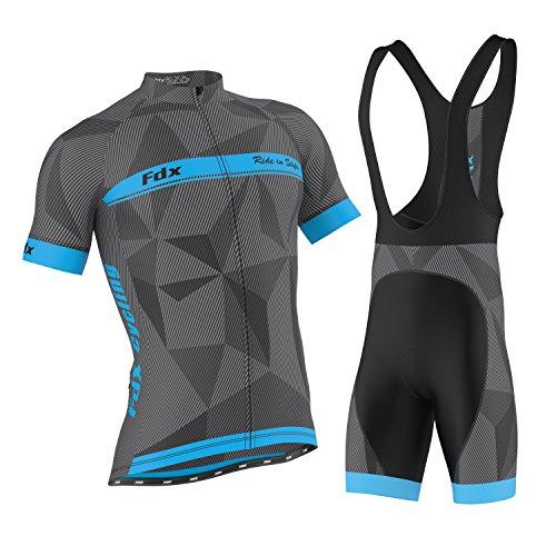 aa6a74d08 FDX Mens Classic Cycling Jersey Race fit Gel Padded Bib Shorts Cycling  Combo set (Blue