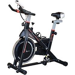 homcom Cyclette Fitness Professionale Allenamento Aerobico da Casa Regolabile Acciaio 103 × 48 × 115cm Nero
