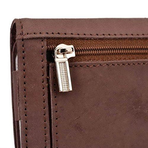 Kroo véritable cuir téléphone portable d'embrayage pour OnePlus One gris gris Tan