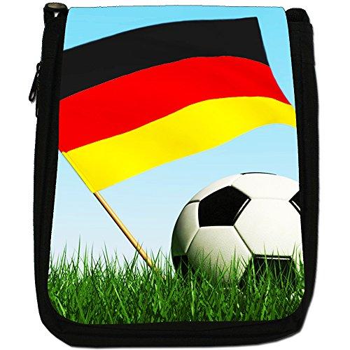 , motivo: bandiera inglese con pallone da calcio, colore: nero, Borsa a tracolla in tela, colore: nero, taglia: M Germany Flag with Footbal