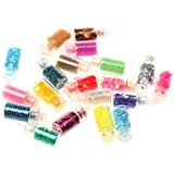 Phenovo Set Of Assorted Colors Sparkling Shiny Beads Nail Art Decoration Bottle Container Beauty Supplies Cosmetic Tool 3cm