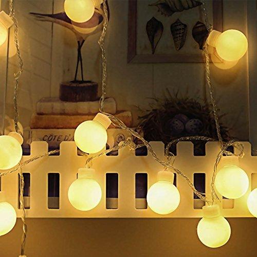 AI-Light LED Guirlande lumineuse 80LED 10M imperméable Décoration pour Fête Noël Mariage Anniversaire Soirée Party Décor Chambre Maison Jardin Terrasse(Blanc chaud,8Mode,alimenté par batterie)