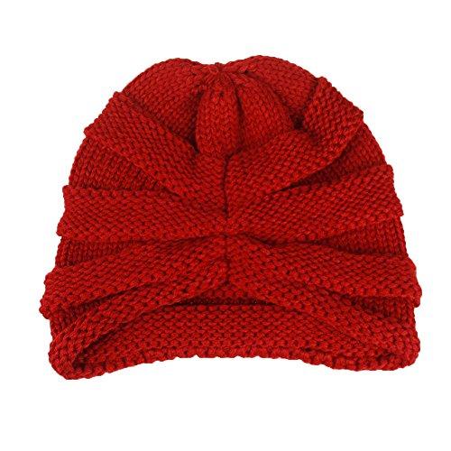 Striped warme Strickmütze Hip Hop Curl Up Pullover Mütze, Frauen Baggy Warm Crochet Winter Wolle stricken Ski Beanie Skull Slouchy Caps Streifen Hut (Weinrot) (Beanie Stricken Hut Cuff)