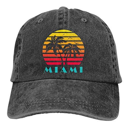 Cord-mesh Back Cap (Hoswee Unisex Kappe/Baseballkappe, Miami 80s Sunset Men/Women Fashion Adjustable Baseball Cap Denim Back Closure Dad Caps)