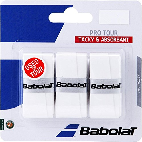Babolat over grip pro Tour 3pz, bianco, taglia unica, 653037-101