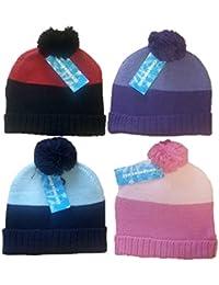 4 Chapeaux bicolore à Bete Thermique avec boule pour Enfants/Filles une seule Taille, Noir, rose, Bleu Marine, Violet