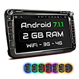 XOMAX XM-2DA801 Autoradio mit Android 7.1.1 passend für VW SEAT Skoda mit Navigation I DVD CD I Bluetooth I Support: Wifi DAB+ OBD2 I 8
