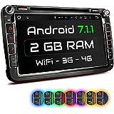 "XOMAX XM-2DA801 Autoradio mit Android 7.1.1 passend für VW SEAT SKODA mit Navigation I DVD CD I Bluetooth I Support: WiFi DAB+ OBD2 I 8"" / 20 cm Bildschirm I USB bis 2TB I Micro SD bis 256GB"