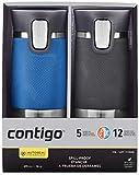Contigo Autoseal Reisebecher, Edelstahl, auslaufsicher, 454 ml, Blau und Grau, 2 Stück