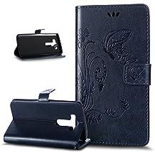 LG V10Funda, Funda para LG V10, LG V10Cover, ikasus diseño Dream Catcher Feather Campanula plegable tipo cartera funda de piel–Funda de piel tipo cartera soporte Soportes de ID de tarjeta de crédito funda para LG V10 Big Butterfly: Navy Blue