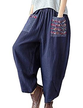 Pantalones Mujer Estilo Étnico Pantalones Anchos Casual Lino Pantalon Harem Pantalones