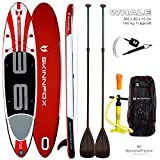 SKINFOX Whale Double-Layer Sup Board ALU-Set Weiss-Rot Paddelboard 365x80x15; (190 kg Tragkraft) (Board,Bag,Pumpe,2 ALU,Leash)