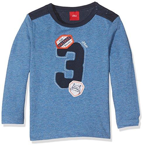 s.Oliver s.Oliver Baby - Jungen Spieler T - SHIRT LANGARM 65.707.31.7154, Einfarbig, Gr. 68, Blau (Blau Melange)