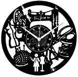 Instant Karma Clocks Orologio in Vinile da Parete Idea Regalo Macchina Sewing Cucire RICAMARE Donna, Vintage, Handmade