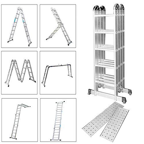 Froadp 550cm Aluminum Gerüst leiter Mehrzweckleiter Multifunktions Kombileiter Klappleiter Gerüst leiter mit 2 stück Plattform(550cm, 4×5 Stufen)