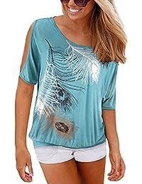 ISASSY - Camiseta - relaxed - Cuello redondo - Manga corta - para mujer
