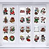 Outus 24 Pièces Autocollants de Fenêtre de Noël Autocollants en Gel de Fenêtre de Noël Autocollants Décalque de Fenêtre de Noël Réutilisables pour Art de Noël de Bricolage Décorations de Fenêtres