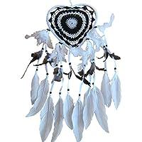 Atrapasueños corazón blanco y negro 22 x 50 cm