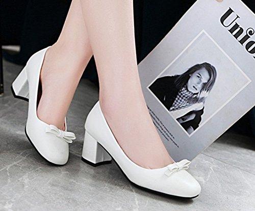 Femme Classique Escarpins Carré Aisun Bout Blanc Princesse Noeud a88zZSq