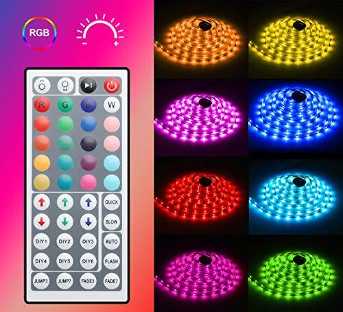 Tiras LED RGB 5050 5M,  Minger Tira Led Iluminación Multicolor con Control Remoto de 44 Botones y Fuente de Alimentación 2A 12V,  Luces Kits Flexible para Restaurante,  Bar,  Cocina,  Dormitorio