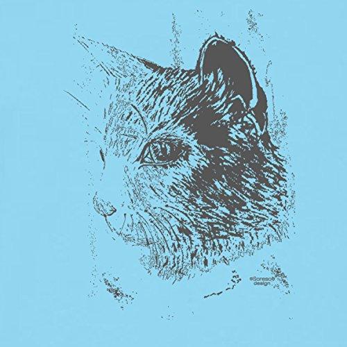 Katze - Katzenkopf :: Schönes bedrucktes T-Shirt mit Tiermotiv für Herren :: Geschenkidee für Ihn Geschenk für Katzenliebhaber Katzenfans Farbe: hellblau Hellblau