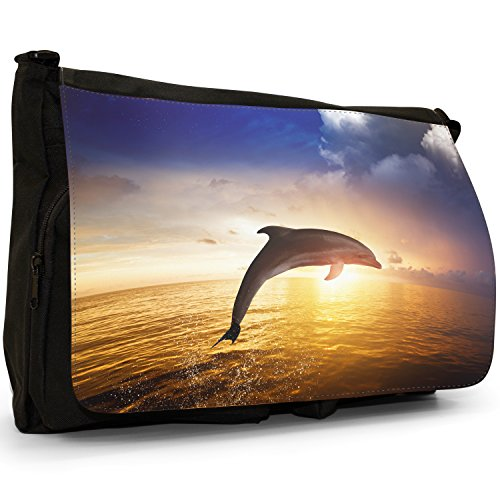 Delfini grande borsa a tracolla Messenger Tela Nera, scuola/Borsa Per Laptop Dolphin Jumping In The Sunset