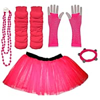 A-Express Childrens Kids Neon Tutu Skirt Plain Legwarmers Gloves Necklace UV Fancy Dress Party Costumes Set