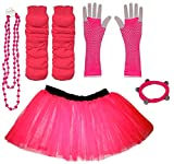 A-Express Rosa Mädchen Kinder 8-14 Jahr Neon Tütü Rock Beinstulpen Fischnetz Handschuhe Halskette Tüll Verkleidung Party TutuRock Kostüm Set