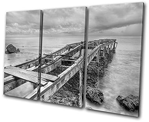 Bold Bloc Design - Sunset Seascape Abandoned Pier - 150x100cm Boîte de tirage d'Art toile encadrée photo Wall Hanging - à la main dans le UK - encadré et prêt à accrocher - Canvas Art Print