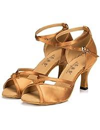 WYMNAME Mujeres Zapatos De Baile Latino,Tacones Mediados Interiores Sandalia Fondo Blando Zapatos De Baile Social