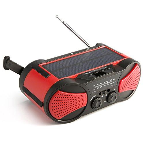 Fnova 10 in 1 Solar Radio, Tragbares Kurbel Dynamo Radio mit Taschenlampe, 4000mAh Powerbank, Duale Lautsprecher unterstützt USB stick/ TF/ AUX, IPX3...
