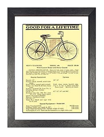 Columbia chainless 1916, gerahmt, A4Poster, Vintage, Foto, Zyklen, Fahrräder, Mode, Grafik, Bild, Schwarz und Weiß, Foto, alt, retro, Druck, Oldschool,