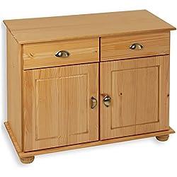 IDIMEX Buffet Colmar Commode bahut vaisselier Meuble Bas Rangement avec 2 tiroirs et 2 Portes battantes, en pin Massif Finition teintée/cirée