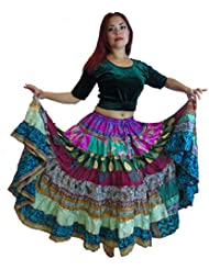 1 - 7 Yard Tribal Gypsy Maxi Tiered Falda Belly Dancing Faldas Seda Blend Banjara Se ajusta S M L XL, un talla 34 - 46