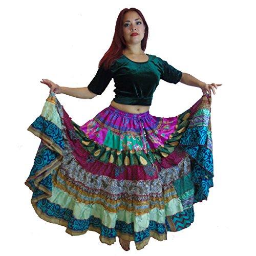 1-7-Yard-Tribal-Gypsy-Maxi-Tiered-Skirt-Belly-Dancing-Skirts-Silk-Blend-Banjara-Fits-S-M-L-XL-ONE-SIZE-34-46