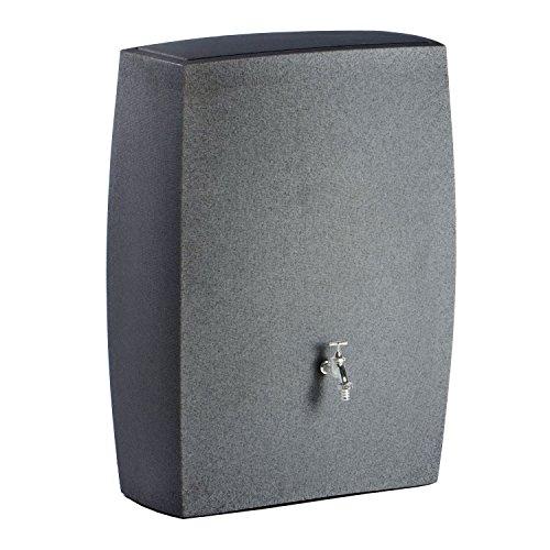 Regentonne Regenspeicher Noblesse 275 Liter Farbe black granit aus UV- und witterungsbeständigem Material. Regenfass bzw. Regenwassertonne mit kindersicherem Deckel und hochwertigen Messinganschlüssen
