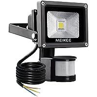 MEIKEE Faretto LED con sensore di movimento 10W, IP65 Proiettore LED esterno, Illuminazione bianco freddo 6000K 900LM, Lampada LED a basso consumo ene